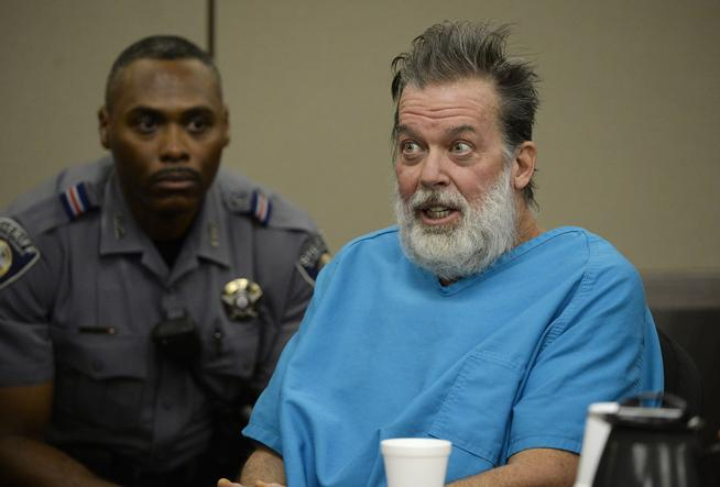 COLORADO SPRINGS, CO - December 09: Robert Dear Jr. talks directly to Judge Gilbert Martinez during a court appearance December 09, 2015 where El Paso County prosecutors filed formal charges against him in the Planned Parenthood attack during which University of Colorado Colorado Springs police officer Garrett Swasey, Iraq war veteran Ke'Arre  Stewart and Jennifer Markovsky, mother of two were killed on November 27, 2015. Photo by Andy Cross/The Denver Post