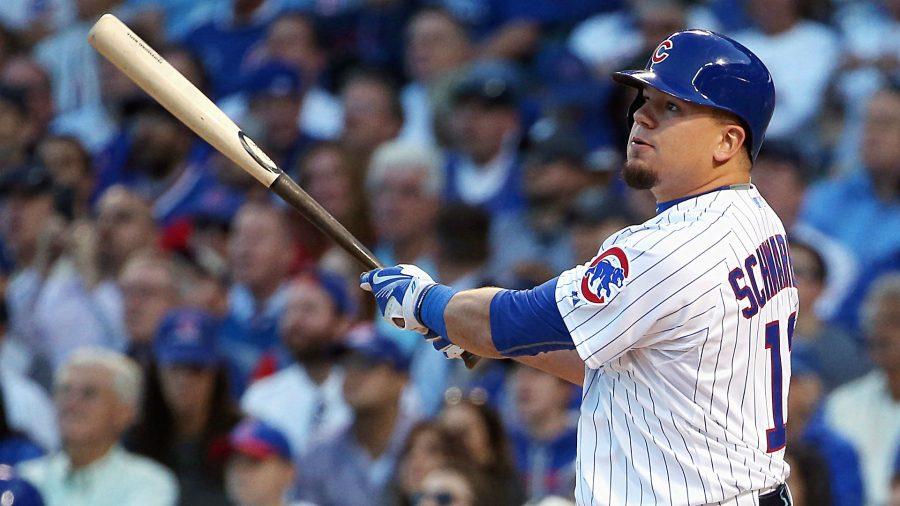 Kyle Schwarber, number 12, at bat for the Chicago Cubs.