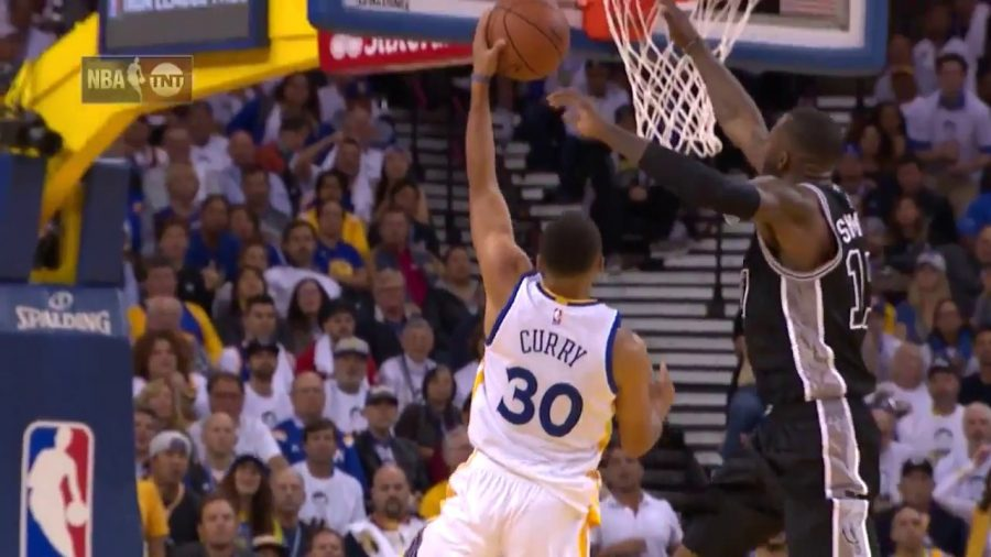A+big+part+of+the+Spurs+beating+the+Warriors+was+Jonathan+Simmons%2C+pictured+here+blocking+reigning+MVP+Stephen+Curry.