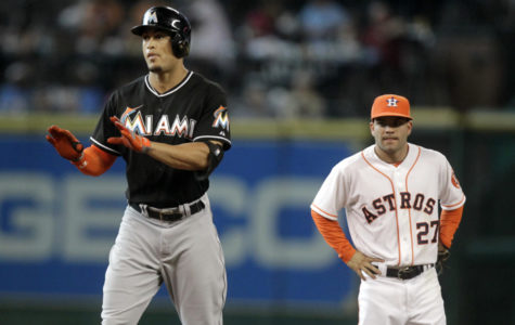 The two MVP's, Giancarlo Stanton (left) and José Altuve (right) next to each other.