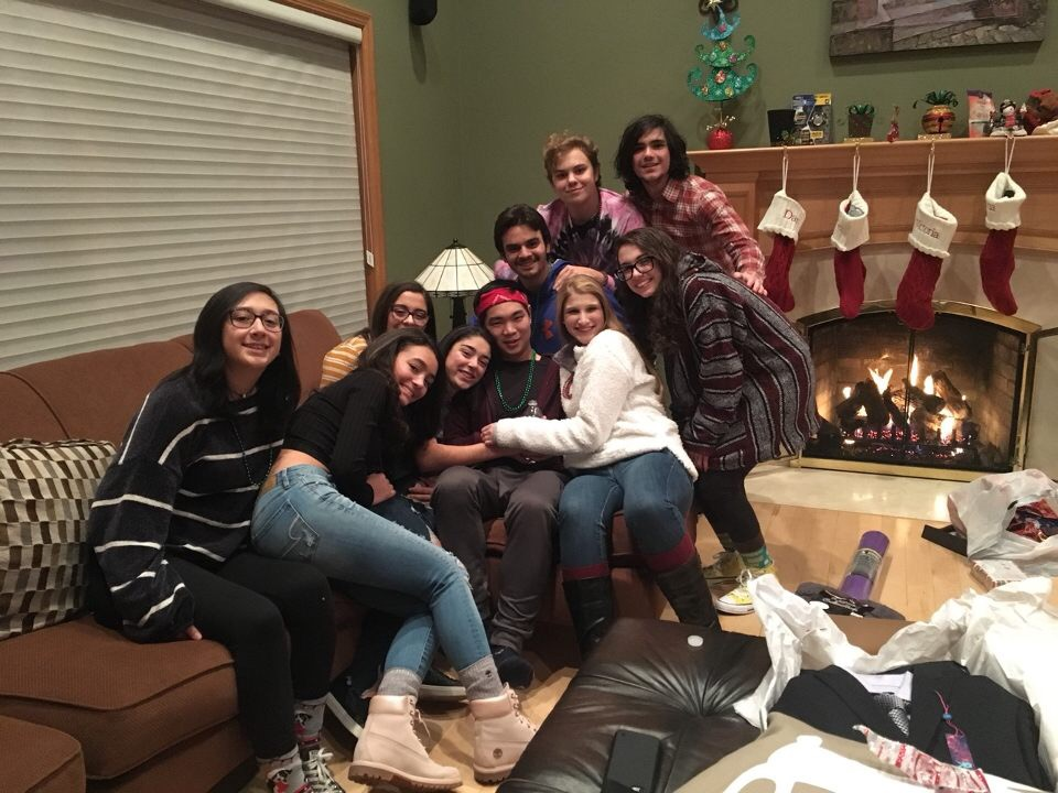 Some cast members of the Adams Family hanging out. (Pictured: Jade He, Veronica Gail, Dezi Tulipano, Christina Silvestri, Brandon Kim, Katie Durot, Dylan Catania, Kat Benedict, Kyle Dunnigan, and Joey Vitale).