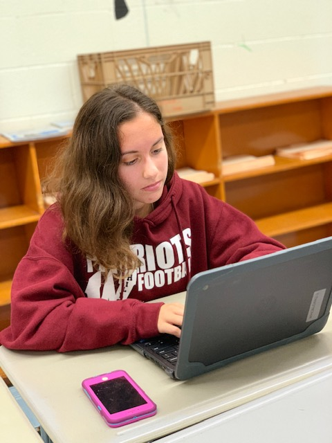 Senior Bettina Rosario works on her school-supplied chromebook.