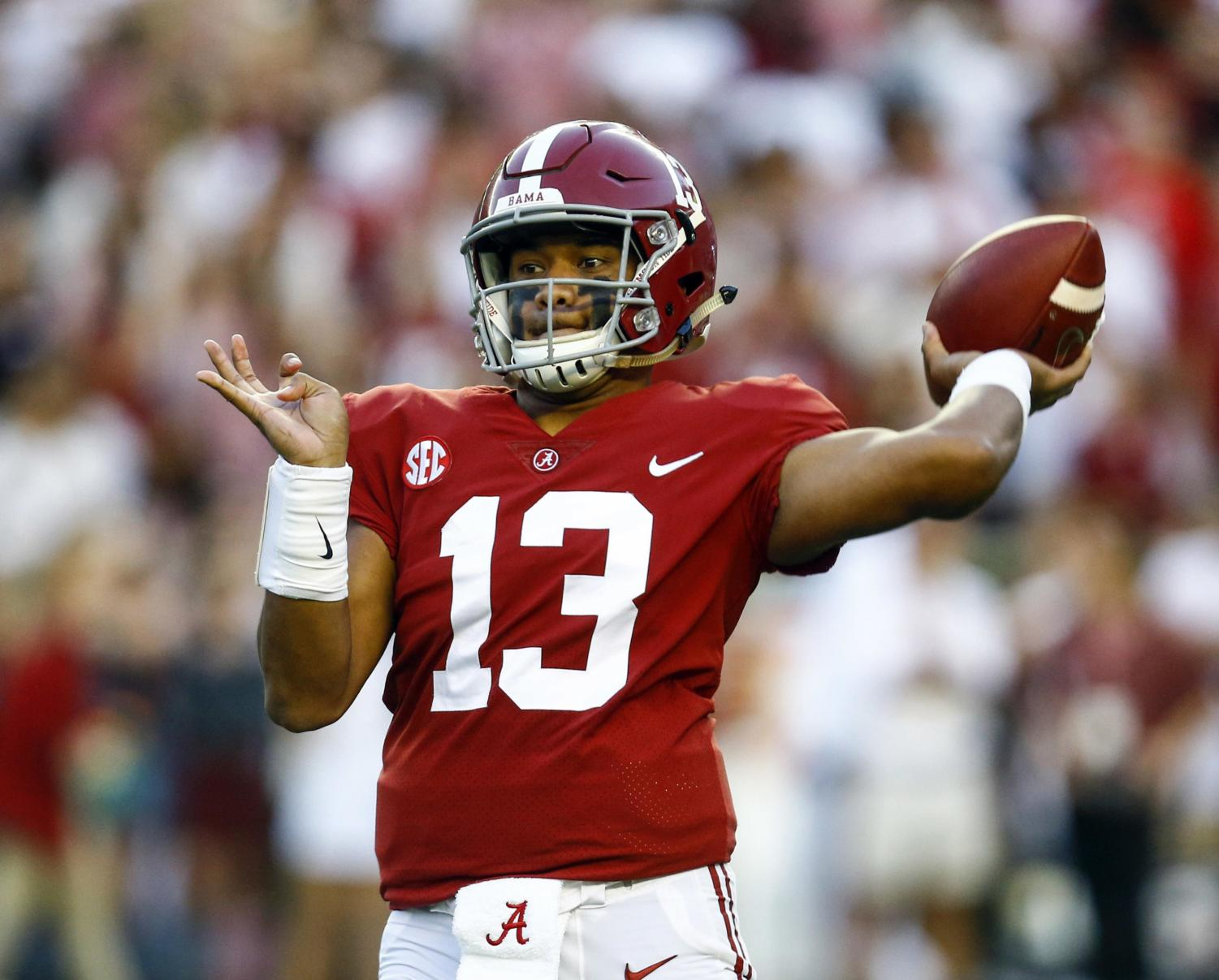 The biggest question in college football this year is if anybody can get to the level Tua Tagovailoa (pictured) and Alabama are playing at,