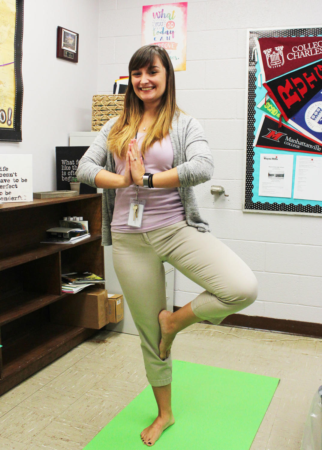 Ms. Venezia starts her day off with a yoga session