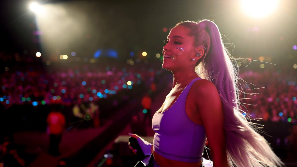 Ariana Grande performing at Coachella as surprise appearance in 2018.