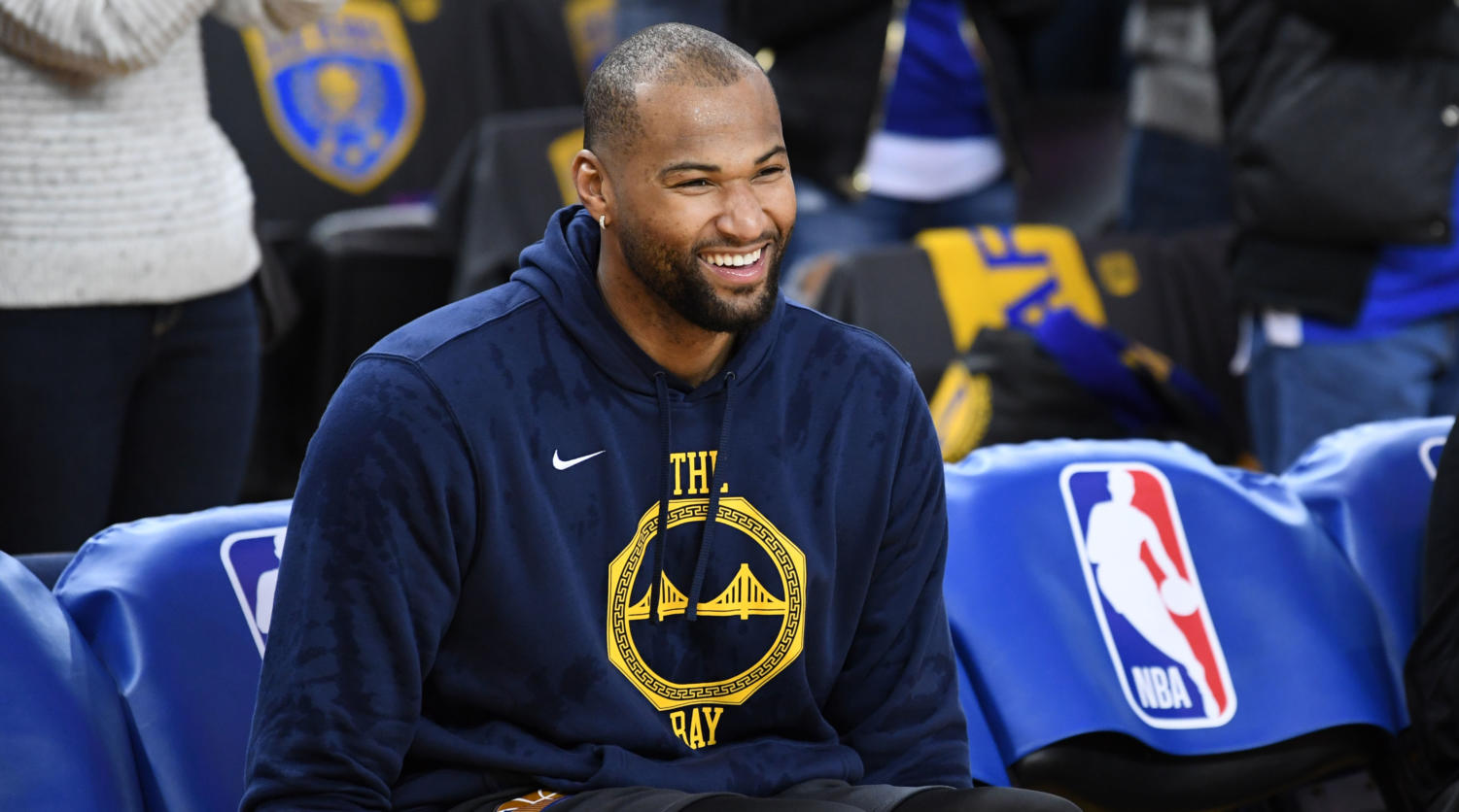 OAKLAND, CA - JANUARY 16: DeMarcus Cousins #0 of the Golden State Warriors laughs prior to a game against the New Orleans Pelicans on January 16, 2019 at ORACLE Arena in Oakland, California. NOTE TO USER: User expressly acknowledges and agrees that, by downloading and or using this photograph, user is consenting to the terms and conditions of Getty Images License Agreement. Mandatory Copyright Notice: Copyright 2019 NBAE (Photo by Noah Graham/NBAE via Getty Images)