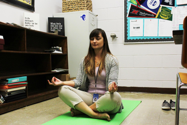 Ms. Venezia meditating before starting her day