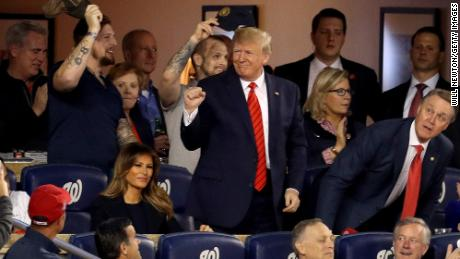 WASHINGTON, DC - OCTOBER 27:  President Donald Trump attends Game Five of the 2019 World Series between the Houston Astros and the Washington Nationals at Nationals Park on October 27, 2019 in Washington, DC. (Photo by Will Newton/Getty Images)
