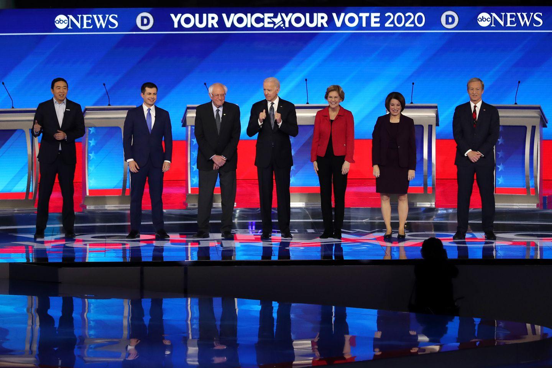 Pictured from left to right, Andrew Yang, who quit the race on Feb. 11, Pete Buttigieg, Bernie Sanders, Joe Biden, Elizabeth Warren, Amy Klobuchar and Tom Steyer.