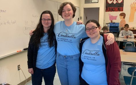 Sophomores (l to r), Sharon Hecht, Val Woodside and Julia Ferreira proudly don their Cinderella shirts!
