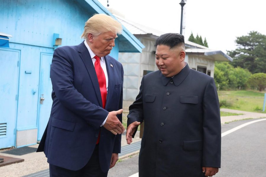 President of the United States, Donald J. Trump, shaking hands with North Korean leader, Kim Jong Un, after their meeting last June.