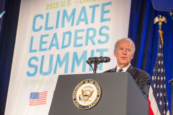 Vice President Joe Biden gives remarks at the U.S. - China Climate Leaders Summit, held at the JW Marriott hotel, in Los Angeles, California, Sept. 16, 2015. Also in attendance is Mayor Eric Garcetti of Los Angeles. (Official White House Photo by David Lienemann)