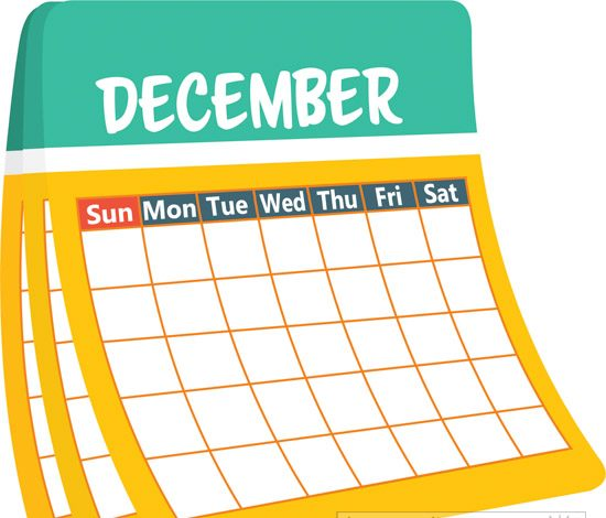monthly calender december clipart
