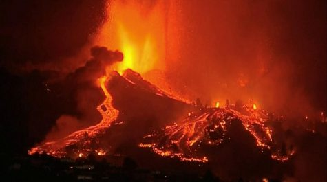 Lava spreading throughout the town in Spain.